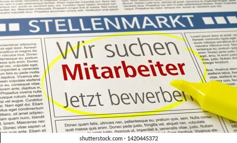 Job ad in a newspaper - We are hiring - Wir suchen Mitarbeiter (German)