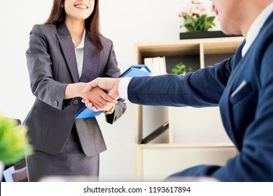 Job applicant having interview. Business young candidate people shaking hands, Greeting new colleague career and placement concept