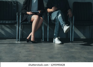 job application and interview. man and woman sitting in chairs. personnel hiring and business recruitment