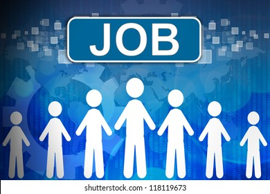 Job ,Business concept in word Human resources