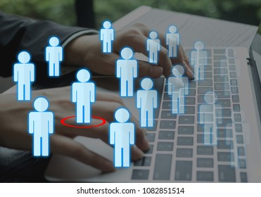 Job candidate career finder for new position opening.  Glowing people with highlighted top candidate.