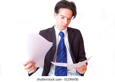 Job conceptual image. Clerk reviews the documents.