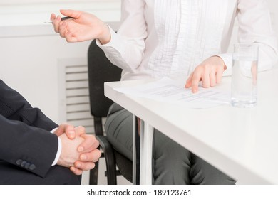 Job interview. Businesswoman conducting job interview in brightly office