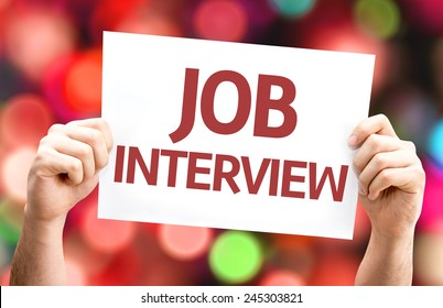Job Interview card with colorful background with defocused lights