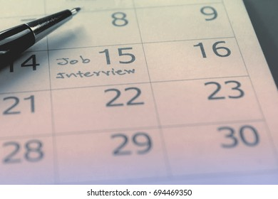 job interview day schedule on calendar