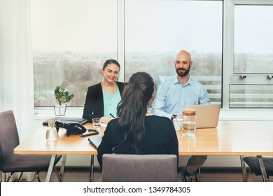 job interview and recruitment process, female candidate sitting at the hr desk