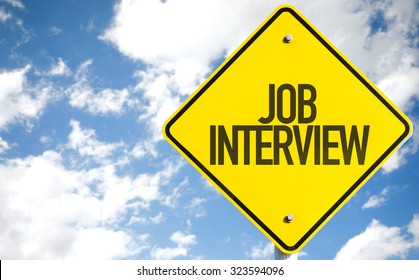 Job Interview sign with sky background