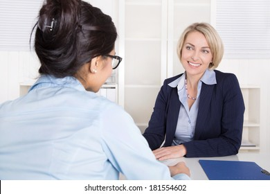 Job interview - two attractive business woman recruiting.