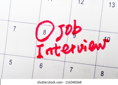 Job interview words written on the calendar