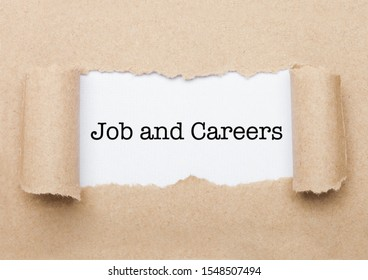 Job nad Careers concept text appearing behind torn brown paper envelope