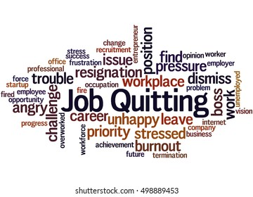 Job Quitting, word cloud concept on white background.