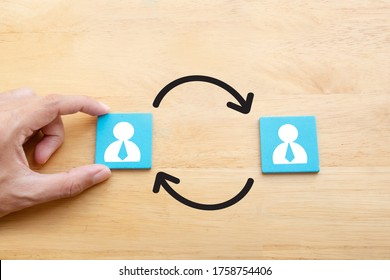 Job rotation or staff turnover icon in Human resources Management concept