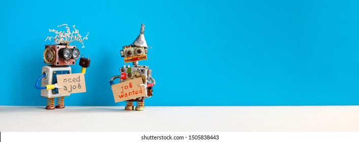 Job search concept. Two robots wants to get a job. Smiley unemployed robotic characters with a cardboard sign and handwritten text Need a job and Job Wanted. Blue gray background, copy space for text.