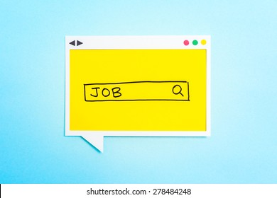 Job search form on speech bubble on blue background.