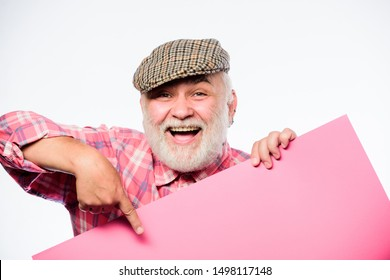 job search. Need help. Advertisement shop. happy mature man in retro hat. Advertisement. Senior bearded man place announcement on banner. wanted. Copy space placate information. Your advertising here.