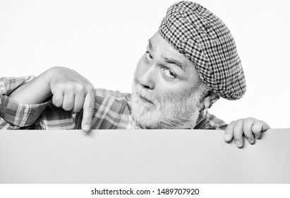 job search. Need help. wanted. Copy space placate information. surprised mature man in retro hat. Advertisement. Advertisement shop. man announcement on banner. You may see you advertisement here.