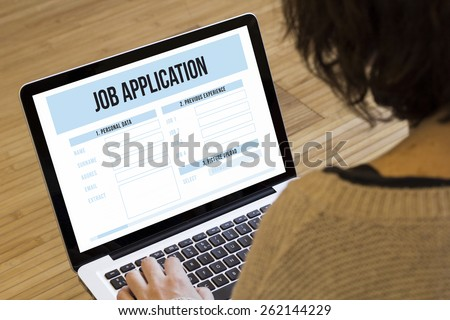 job search online concept: job application on a laptop screen