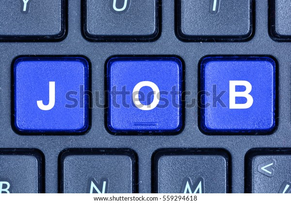 Job word on computer keyboard buttons