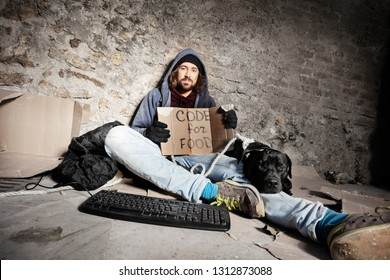 Jobless man sitting on city sidewalk with his dog