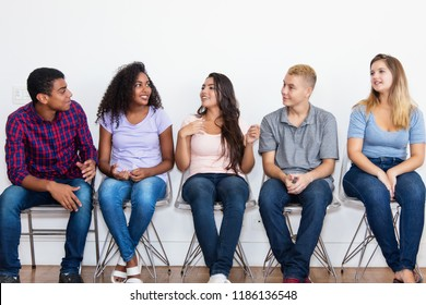 Jobless young adults waiting for a job interview  at office of company