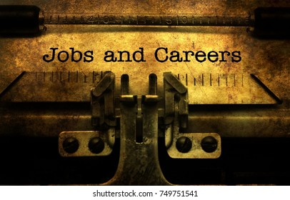 Jobs and careers text on typewriter