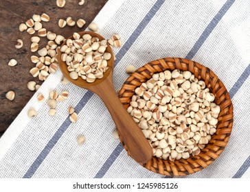 Job's tears, Job's tears or Coix Lachrymal adlay in wooden spoon is a very nutritious cereal. The seeds are rich in minerals, organic, dietary fiber, and essential amino acids. in clude clipping path