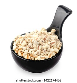 Job's tears or  Coix Lachrymal  adlay in wooden spoon is a very nutritious cereal. The seeds are rich in minerals, vitamins, dietary fiber, and essential amino acids. in clude clipping path