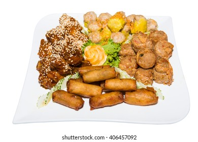Jock fried clams in dishes,deep fried spring rolls,Sprinkle sesame pork,shrimp dumplings