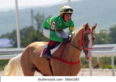 The Jockey And Akhal Teke StallionHippodrome In City PyatigorskCaucasusRussia