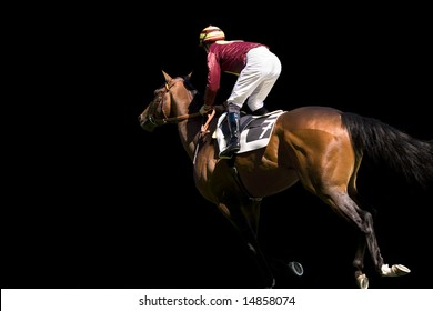 Jockey and horse number 7 on a black background.