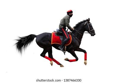 jockey horse racing isolated on white background, Cossack on horse