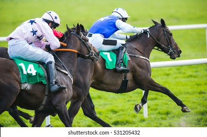 Jockey and horse taking the lead in a race