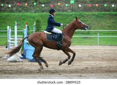 Jockey on horse running