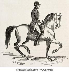 Jockey on horseback old illustration. By unidentified author, published on L'Illustration, Journal Universel, Paris, 1858