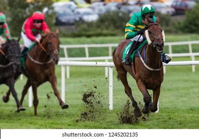 Jockey and race horse taking the lead towards the finish line