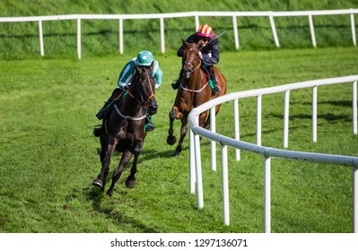 Jockey and race horse taking the lead in a race