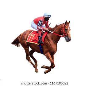 jockey riding a horse, horse racing, isolated on white background