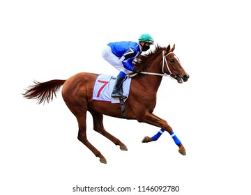 jockey riding a horse rides on the racetrack, a quick gallop, racing on the racetrack on white background