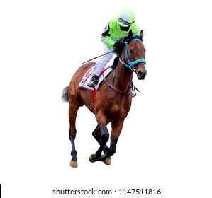 jockey riding a horse rides on the racetrack, a quick gallop, racing on the racetrack jockey horse race on white background