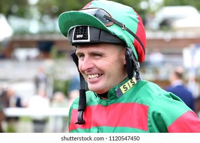 Jockey Tony Hamilton at York Racecourse : The Knavesmire, York Racecourse, Nth Yorkshire, UK : 15 June 2018 : Pic Mick Atkins
