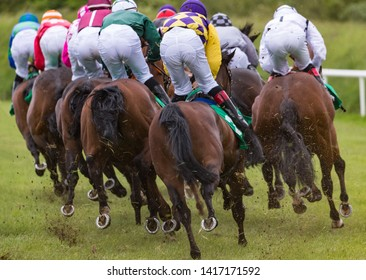 Jockeys and horses racing down the track, view from behind