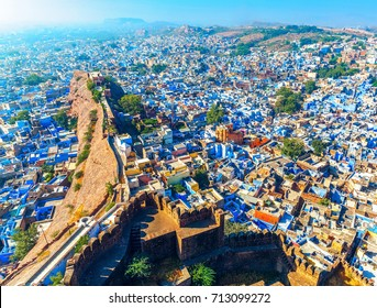 Jodhpur, the Blue City. View from Mehrangarh Fort. Rajasthan, India