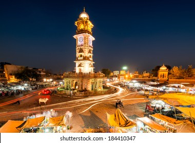 Jodhpur Clock Tower Market At Night