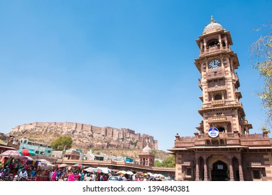Jodhpur/ India 15 March 2019 View of Ghanta Ghar also known as the clock tower of Rajasthan is in the Indian city of Jodhpur Rajasthan in northwest India