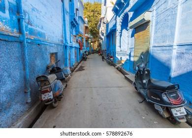 Jodhpur, India 16th January 2017 - A sidestreet in the blue city of Jodhpur, India