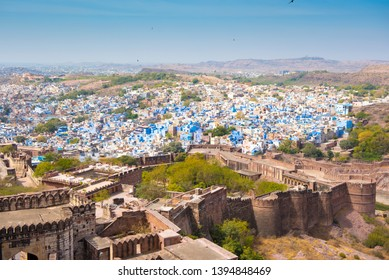 Jodhpur/ India 18 March 2019 Aerial view of Jodhpur blue city scape from the top of Mehrangarh Fort at Jodhpur Rajasthan India