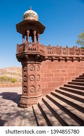 Jodhpur/ India 18 March 2019 An ornate Chhatri or Canopy typical of Rajasthani architecture at entrance and stairs of Jaswant Thada Memorial in Jodhpur Jodhpur Rajasthan India