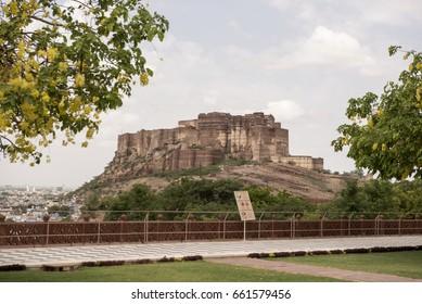 Jodhpur / India 8 June 2017 View of  The  Mehrangarh Fort and  museum  at Jodhpur city Rajasthan Indian