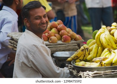 Jodhpur, India - April 06, 2007: Unidentified man sells fruits at the street market in Jodhpur, India.