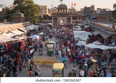 Jodhpur, India - December 30, 2018 : View of Sardar Market, famous shopping zone of Jodhpur for selling local Indian products such as handicrafts, clothes, spices, fruits and vegetables.